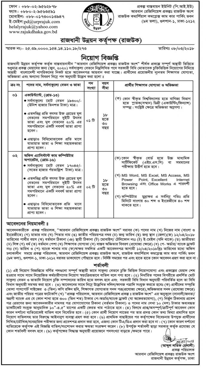 RAJUK - Rajdhani Unnayan Kartripakkha Job Circular 2018