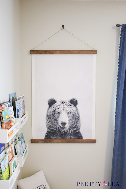 DIY Canvas Wall Hanging in a Reading Nook