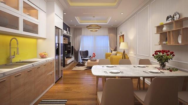 Thiết kế mẫu khu bếp và phòng khách căn hộ Tây Hồ Riverview