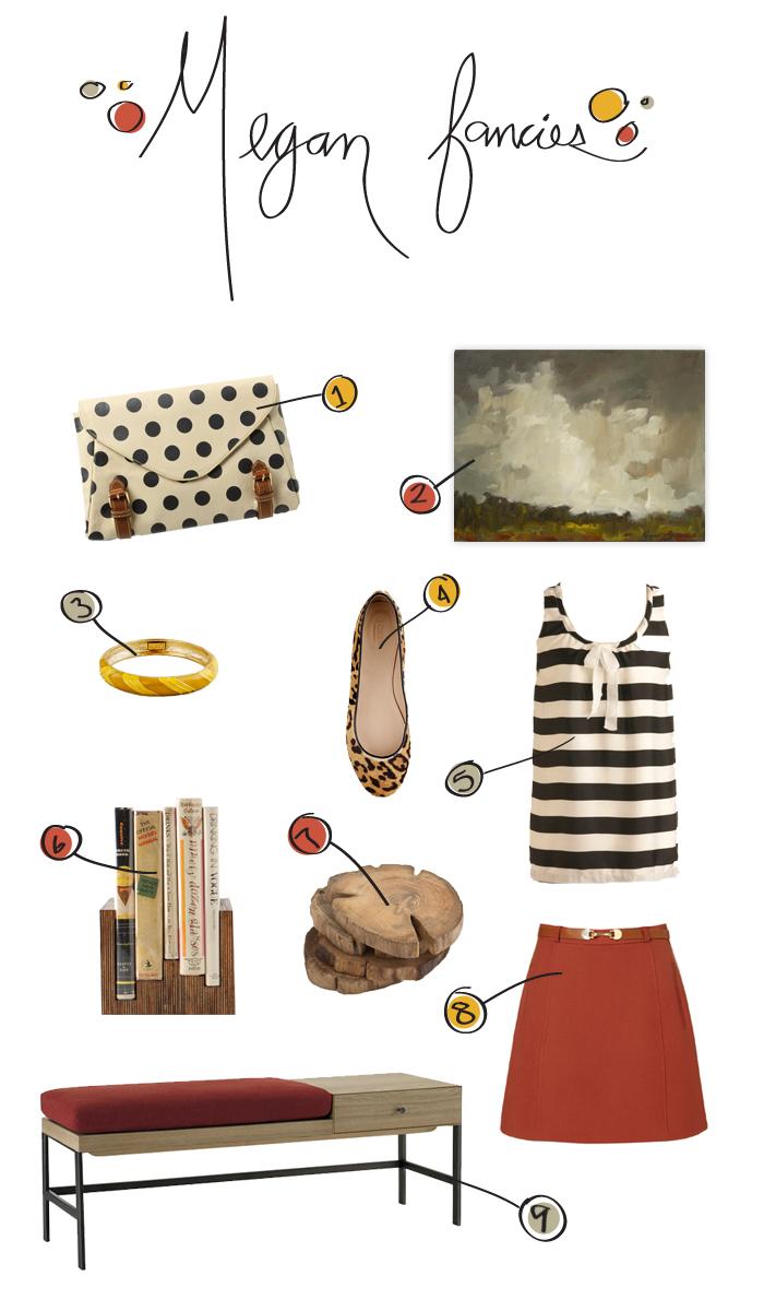west elm, interiors, megan gilger, fancies, stripes, polka dots, purse, anthropologie, home decor, oil painting