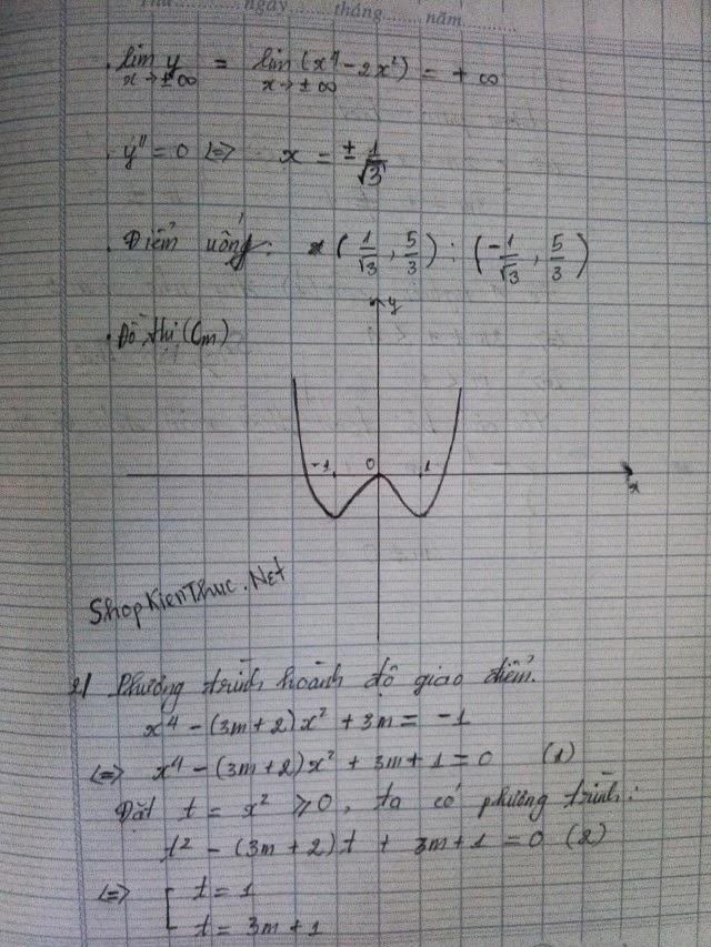bài tập mẫu khảo sát hàm số trùng phương trang 2