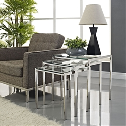 Set of 3 Glass Top Nesting Side Tables