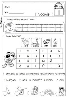 Atividades de vogais, Atividades de alfabetização, Atividades de 1º ano, Letra I