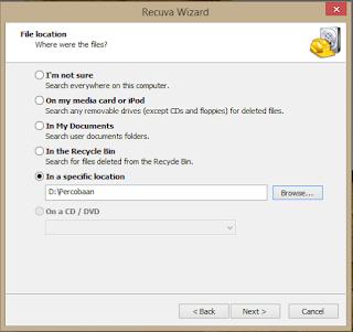 Pilih lokasi file yang terhapus