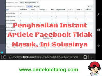 Penghasilan Instant Article Facebook Tidak Masuk