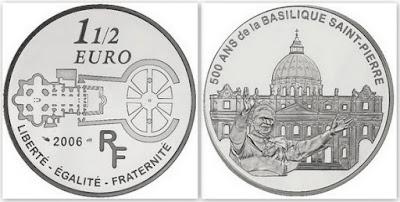 Монета 1 1/2 ЕВРО. 2006 г. Франция