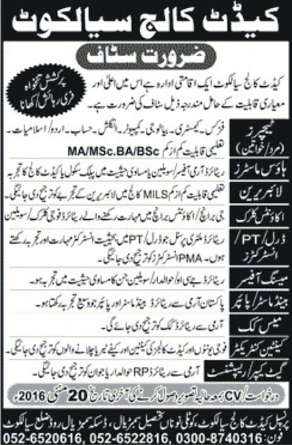 Teachers Jobs in Cadet College Sialkot