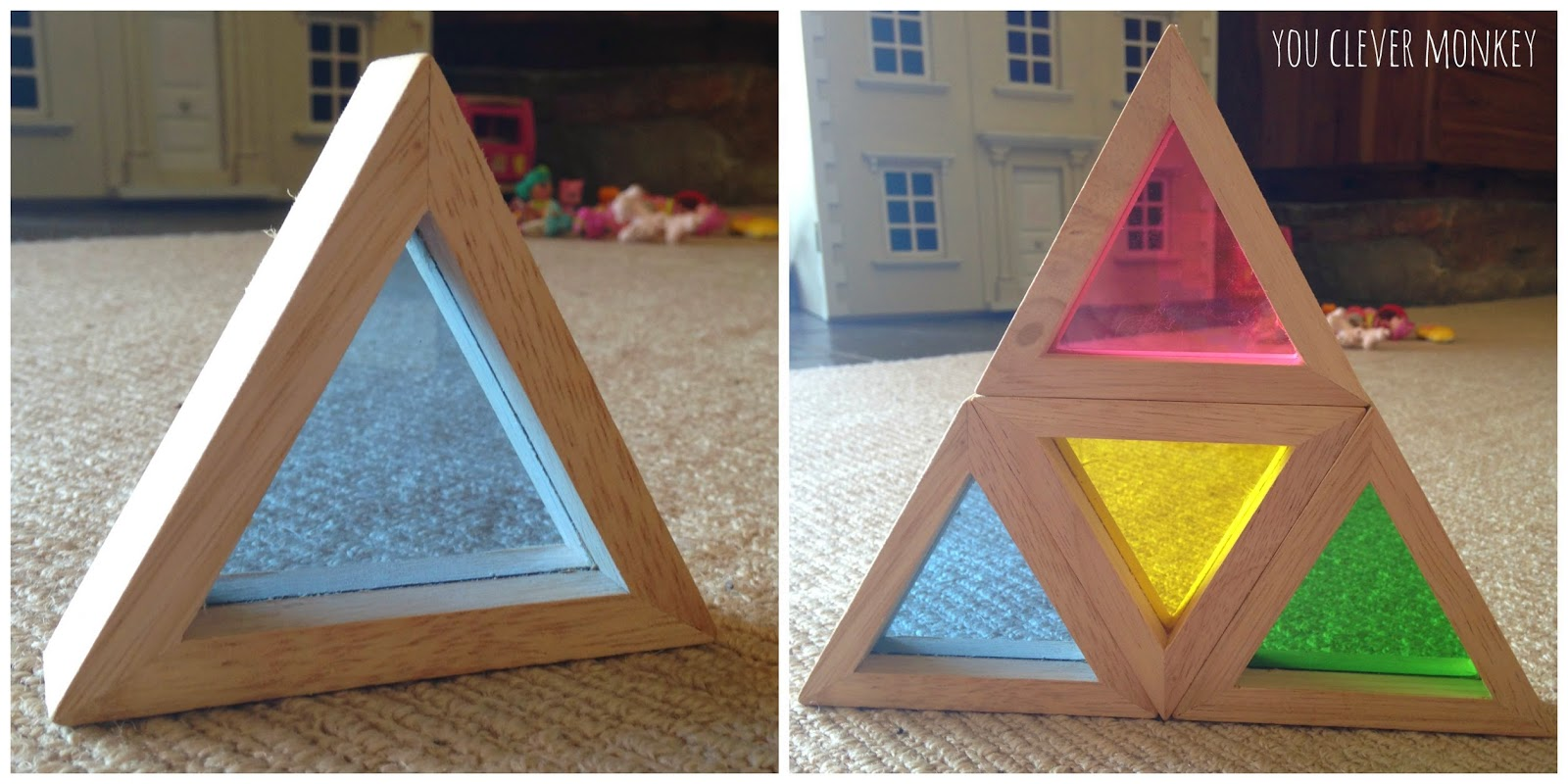 Exploring fractions with wooden rainbow blocks.  For more, visit www.youclevermonkey.com