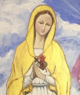 Cuadro Apostolado Sagrados Corazones Unidos - Detalle Virgen María