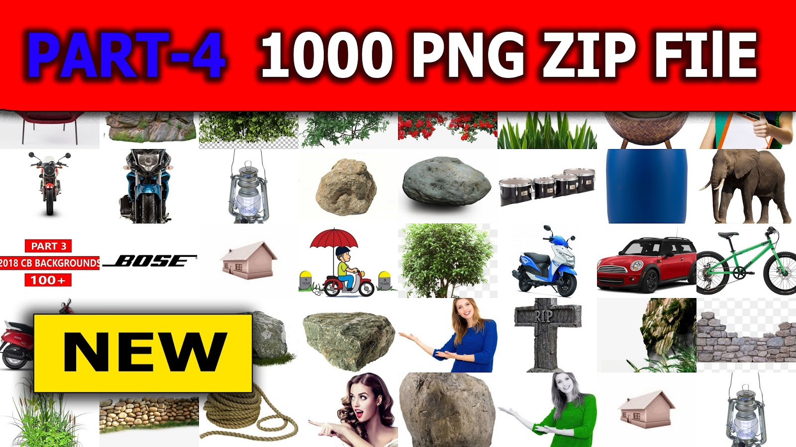 Part 4 ) New 1000 PNg Zip File Download, All New Editing Png