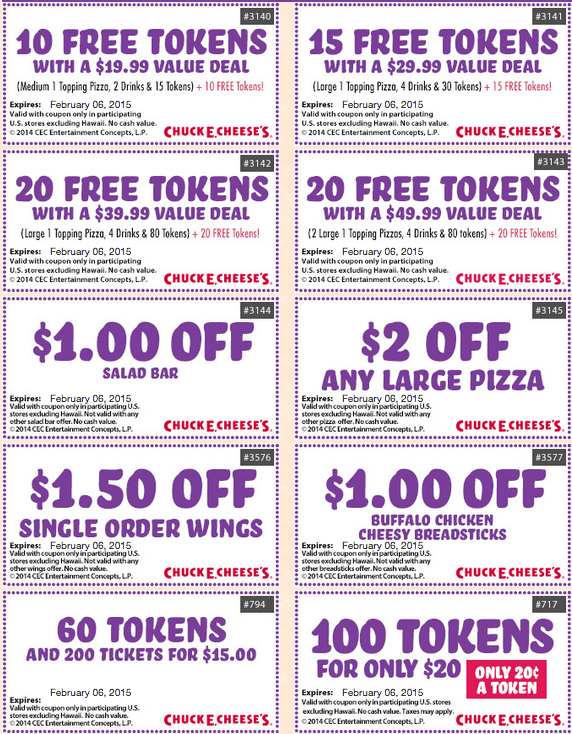 Chuck E. Cheese is one of the most popular family and kid destinations and is known for its selection of arcade games, pizza and ticket prizes. Parents can get discounts on birthday specials, pizza, salad bar, appetizers, drinks, and even free tokens with the latest printable coupons. What Types of Chuck E Cheese Coupons are there?
