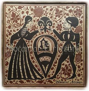Bello socarrat original del siglo XV pintado a mano con óxidos y cocido a 980 grados