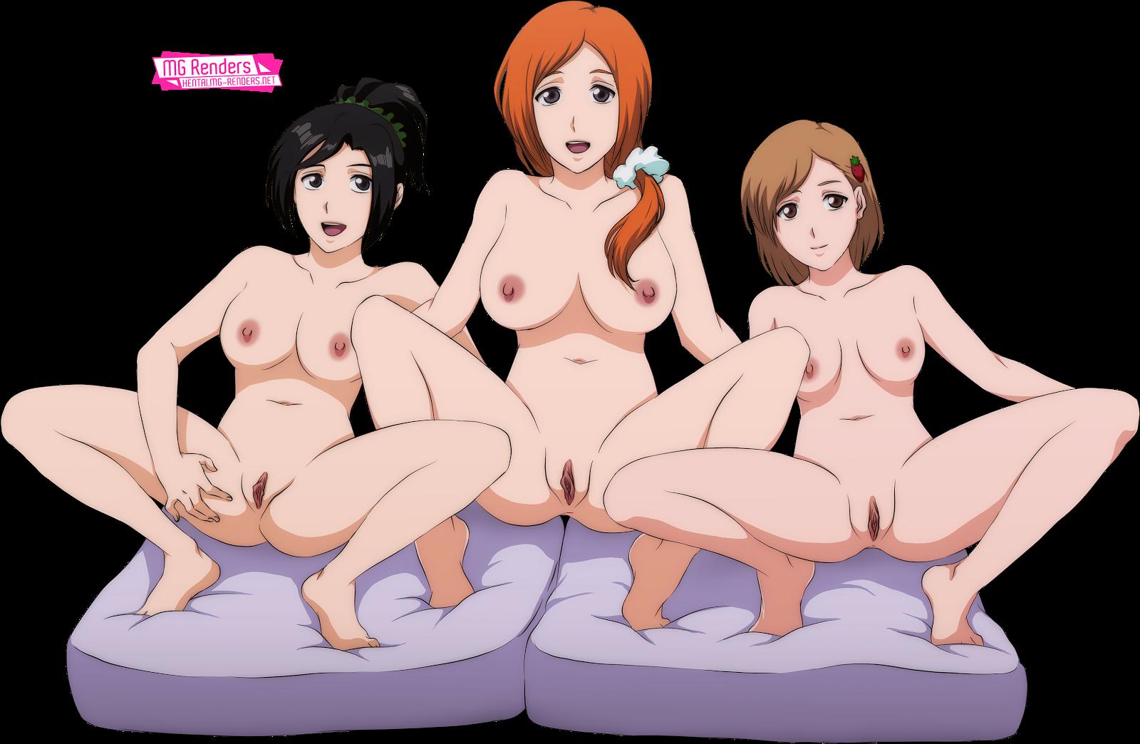 Tags: Image, Picture, Render, Anime, Hentai Barefoot, Brown hair, Feet, Inoue Orihime, Kurosaki Karin, Kurosaki Yuzu, Large Breasts, Naked, Ecchi, 裸, Nipples, No bra, No panties, Orange hair, Ponytail, Spread Legs, Vagina, PNG