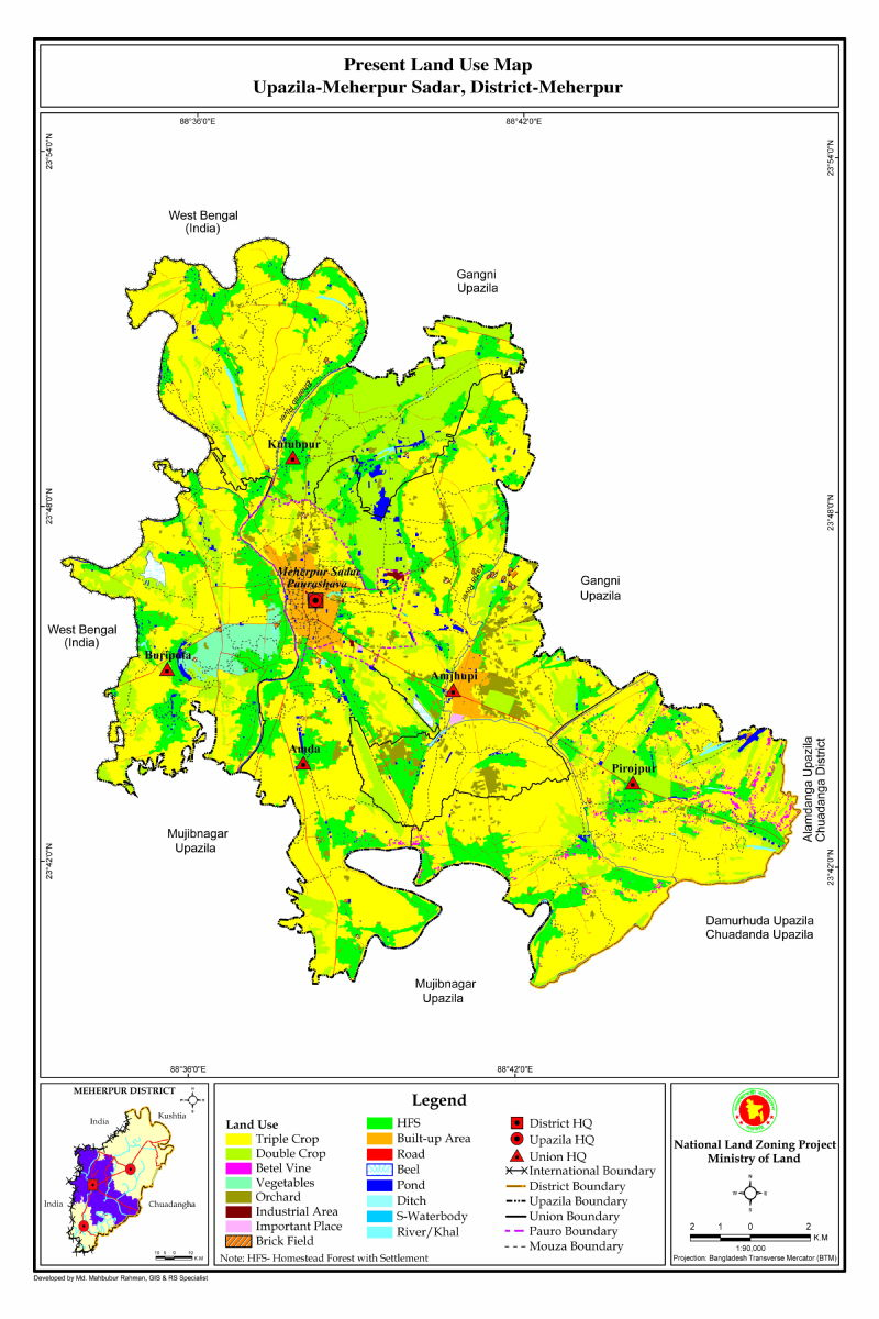 Meherpur Sadar Upazila Mouza Map Meherpur District Bangladesh