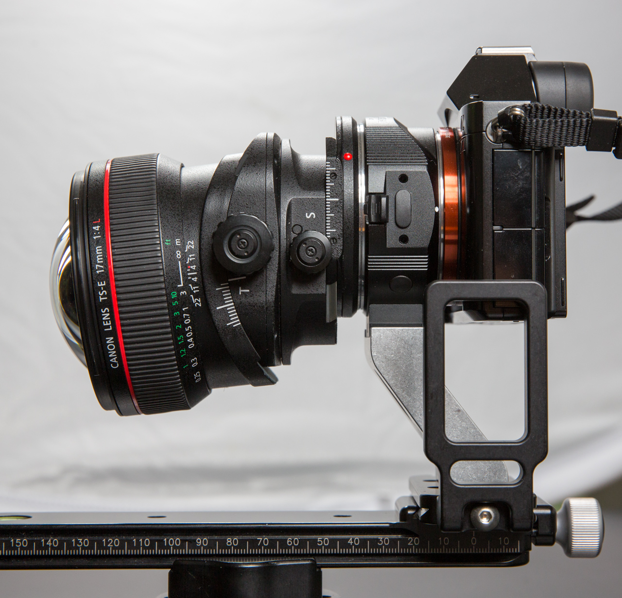 Canon TS-E 17mm f/4 L on SONY a7 via Metabones adapter and Hajnar Foot Assembly prototype.