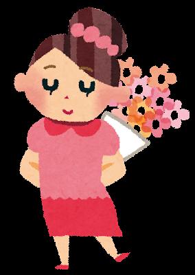誕生日のイラスト「女性と花束」