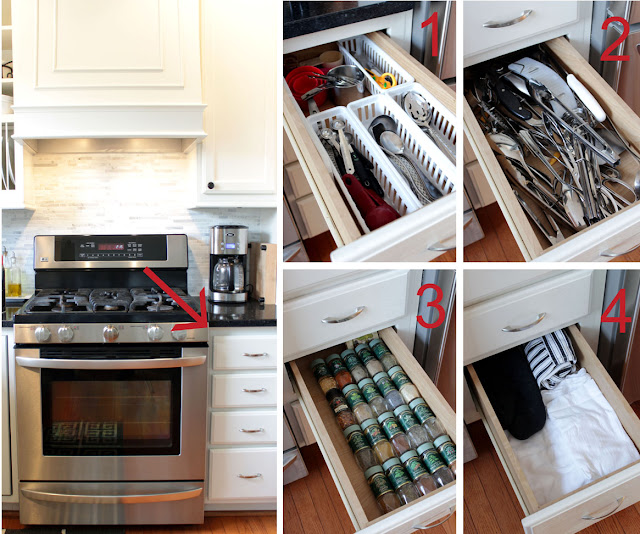 kitchen stove and drawer tower with disorganized drawers