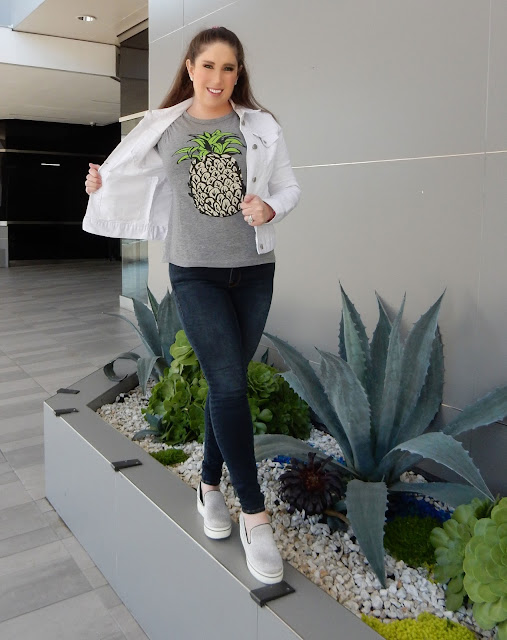 The High Heeled Brunette Marisa Stewart styles SheIn pineapple shirt. Perfect spring summer outfit.