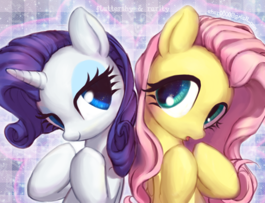 Fluttershy and Rarity by Uher0