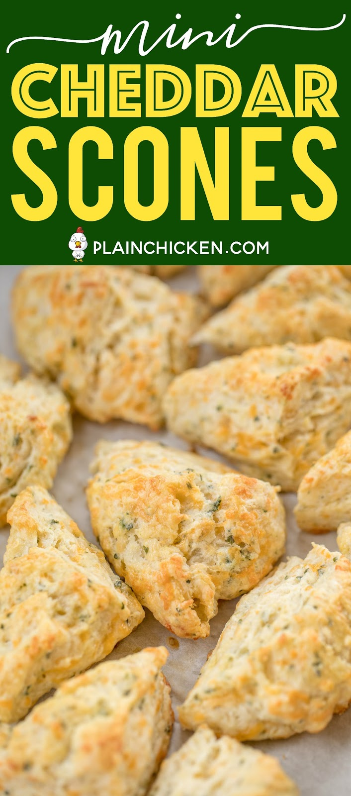Mini Cheddar Scones - CRAZY good!!! They go with everything - soups, stews, casseroles, grilled meats. We make these yummy biscuits every week! Flour, baking soda, baking powder, salt, butter, cheese, and buttermilk. Surprisingly easy to make! We gobble these up!! #biscuits #cheddar #scones #breadrecipe
