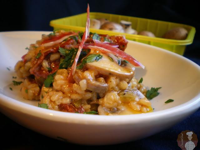 Risotto al parmesano con  champiñones, verduras y tomates secos
