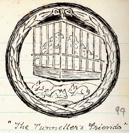 Sketch captioned The Tunnellers' Friends, showing a representation of rats and caged birds on a memorial [possibly at Edinburgh, Scotland], n.d. (D/DLI 7/63/3(94))