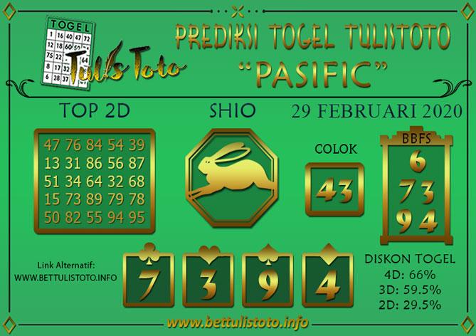 Prediksi Togel PASIFIC TULISTOTO 29 FEBRUARI 2020