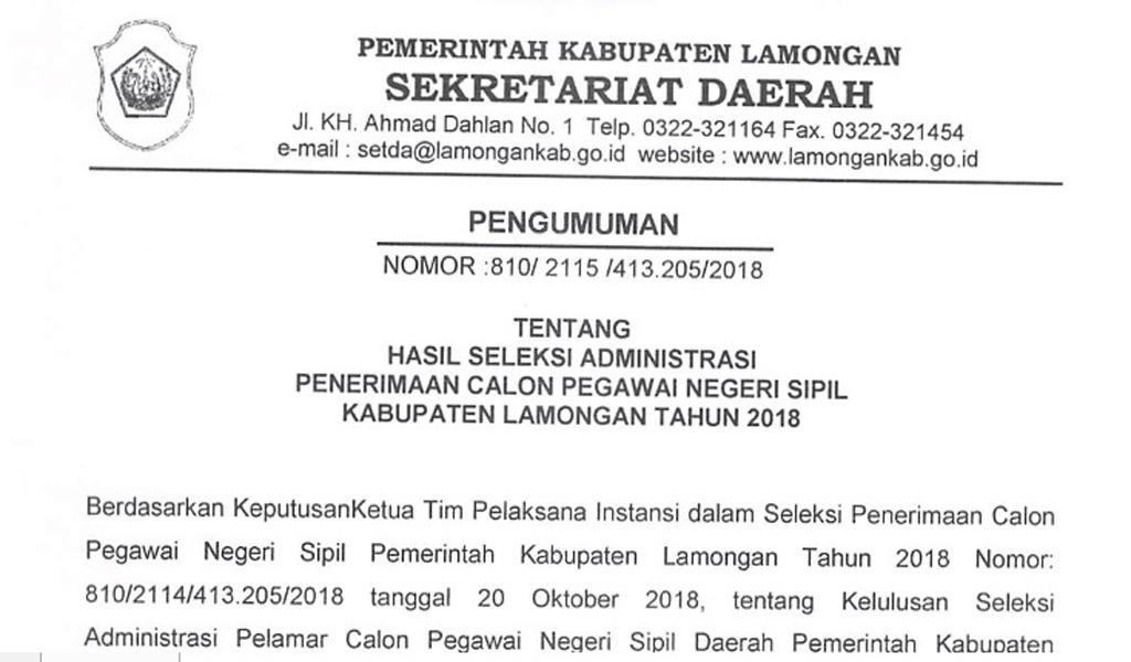 pengumuman hasil seleksi cpnas kabupaten lamongan 2018
