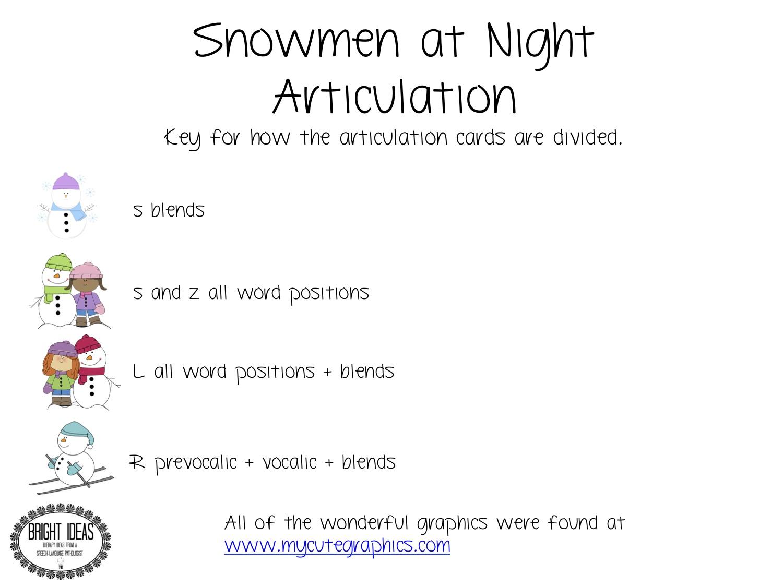 Bright Ideas Slp Snowmen At Night Articulation