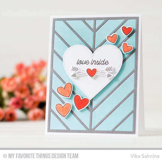Handmade card from Vika Salmina featuring Love Is in the Mail stamp set, I'm Owl Yours stamp set and Die-namics and Flop Card - Heart and Chevron Segments Cover-Up Die-namics #mftstamps