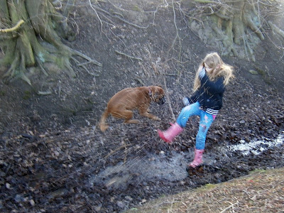 splashing in the muddy stream girl and jumping boxer dog