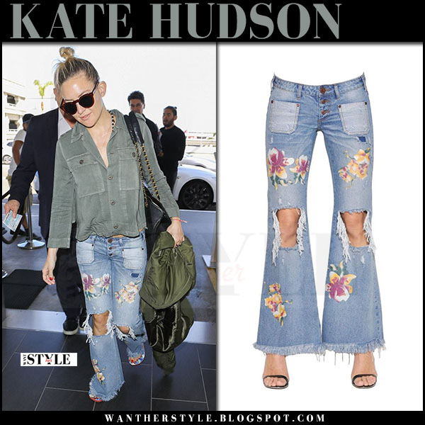 Kate Hudson in ripped floral print jeans one teaspoon what she wore april 2017