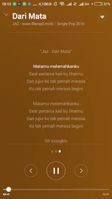 lirik lagu sudah terpasang di musik xiaomi