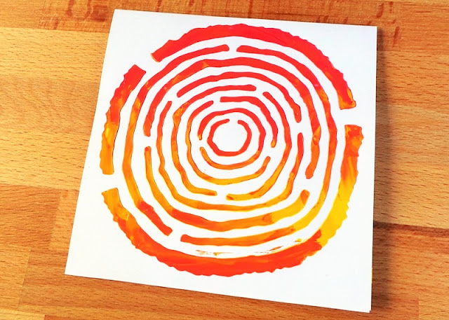 Stenciling with the Happy Scatter Wood Slice Stencil