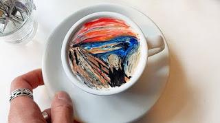 Pintura El grito de Edvard Munch sobre el café