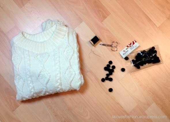 jersey, aplicaciones, pompones, customizar