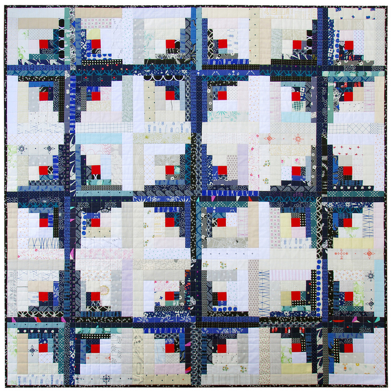 Bluebird Log Cabin Quilt | Red Pepper Quilts 2016