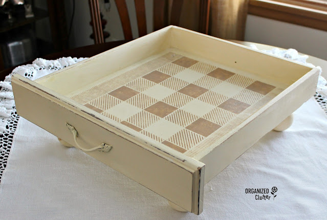 Photo of a stenciled drawer tray