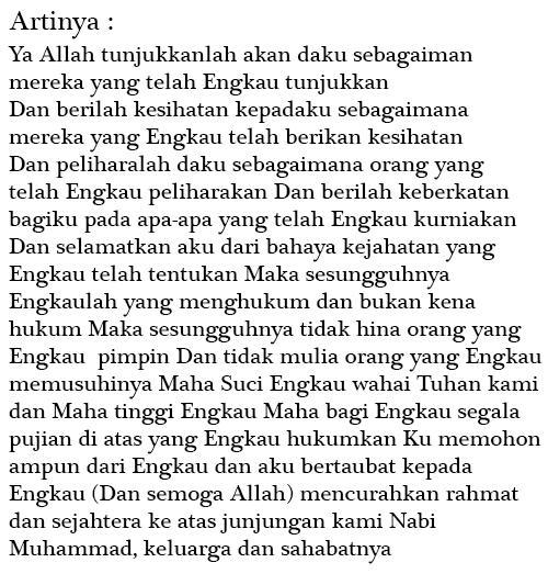 Hukum Bacaan Doa Qunut Sholat Subuh Nazilah Witir Pendek Latin Dan Artinya