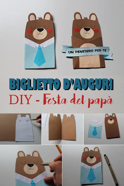 Come realizzare un biglietto di auguri a forma di orso per la festa del papà - tutorial