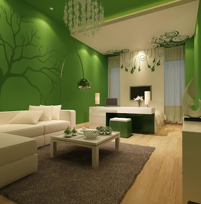 Life Hacks White Accent Wall With Green Decal And Chandelier