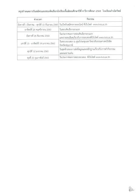 รับสมัครนักเรียน ม.4 รุ่น4  วันที่ 1 สิงหาคม - 15 กันยายน 2560