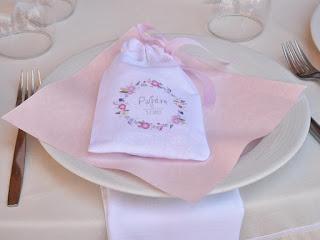 μπομπονιέρα βάπτισης πουγκάκι με λουλουδάκια για κοριτσάκι