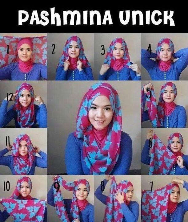 Tutorial cara memakai model hijab pashmina untuk wajah bulat 3