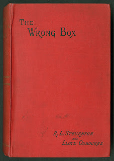 "A red cover for ""The Wrong Box."""