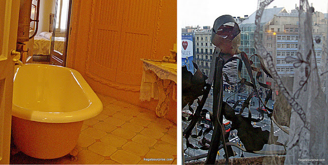 Banheiro e varanda de um apartamento de La Pedrera, em Barcelona