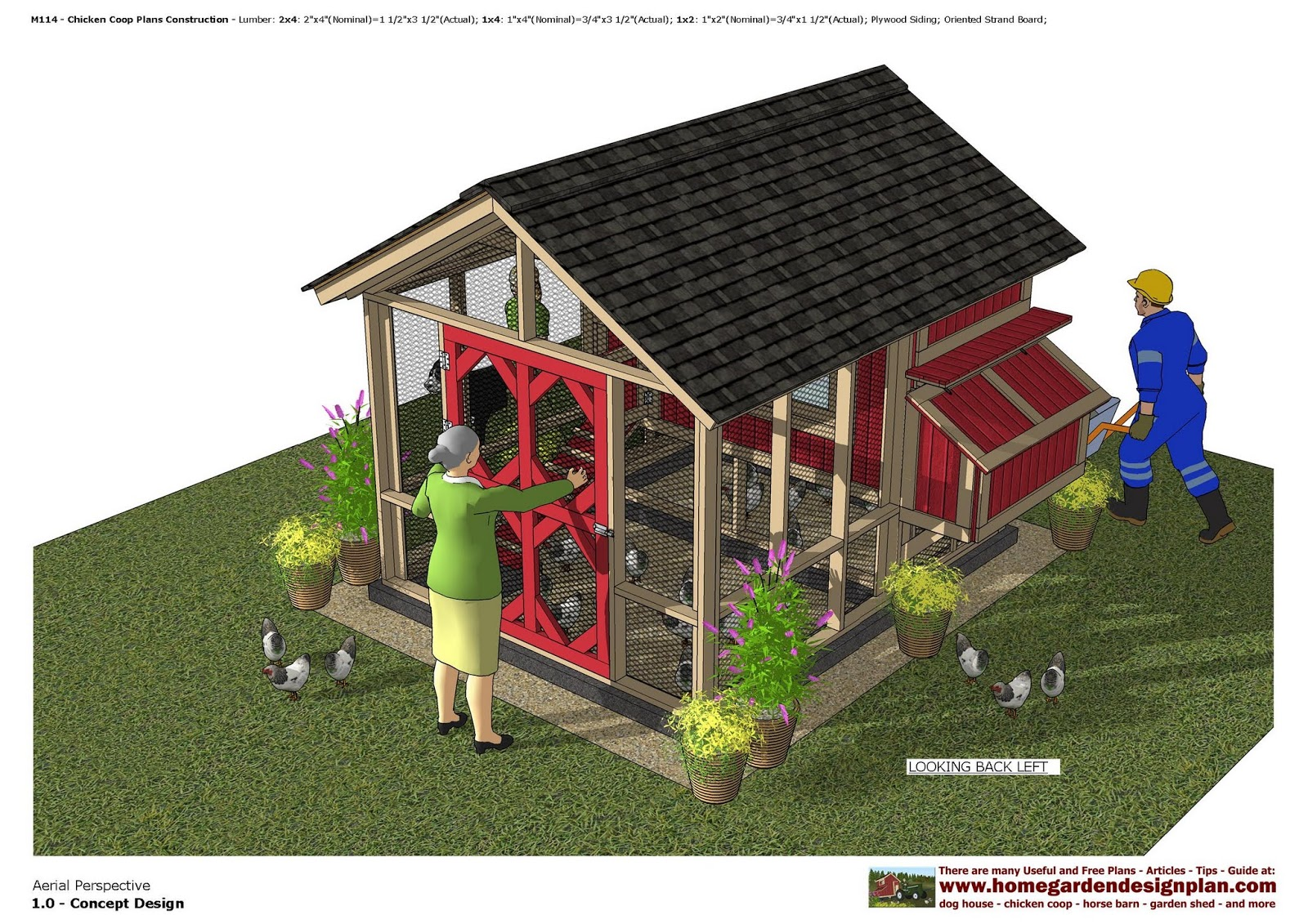 home garden plans M114 Chicken Coop Plans Construction Chicken – Chicken Coop With Garden Roof Plans