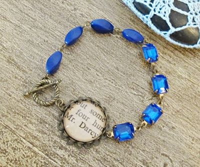 image mr darcy bracelet sapphire blue royal asymmetry asymmetrical pride and prejudice jane austen two cheeky monkeys vintage brass