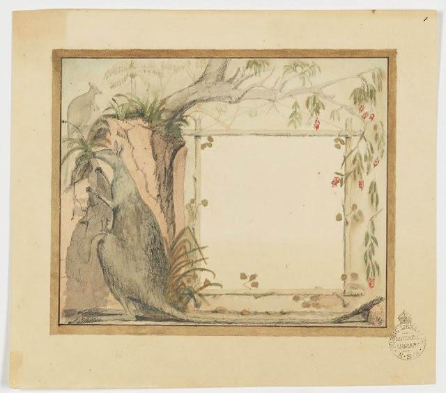 Christmas Card design depicting kangaroos and the Australian bush.