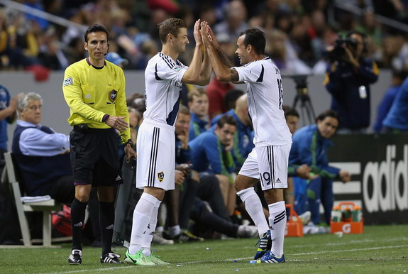 Los Angeles Galaxy player Robbie Rogers comes into the game for teammate Juninho